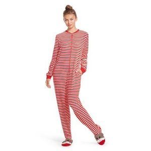 Nick & Nora Red Striped Sock Monkey Lounge Pajama